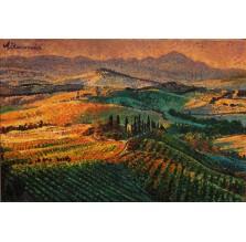 """Obraz """"Prowansalskie wzgórza w jesiennym słońcu"""". Technika: akryl."""