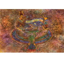 Rysunek pastelem, motyw egipski szaro-brązowy
