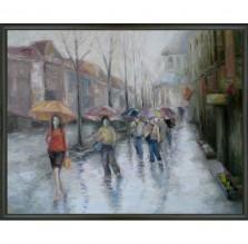 """Obraz """"Mediolan w deszczu"""". Technika: olej."""