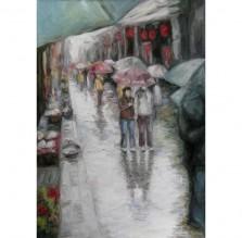 """Obraz """"Tokio w deszczu"""". Technika: olej."""