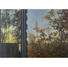 "Obraz ""Jesienne okno"". Technika: pastel."