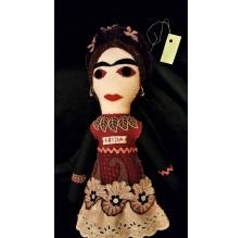 Frida Kahlo – filcowa lalka bordowa. Ręcznie robiona.