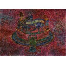 Rysunek pastelem, motyw egipski amarantowy