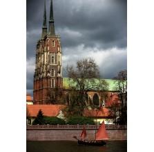 """Fotografia Wrocław """"Katedra i zabytkowa łódź"""""""