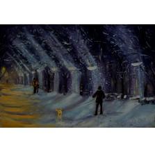 """Obraz """"Śnieżny wieczór"""". Technika: olej"""