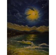 """Obraz """"Nocne surfowanie"""". Technika: olej"""