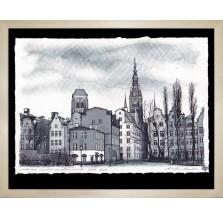 "Grafika ""Gdańsk – widok na Stare Miasto"" 2016. Technika: Inkografia"