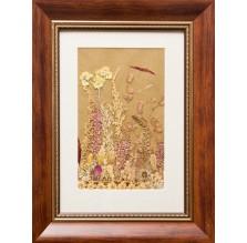 """Obraz """"Kompozycja kwiatowa VII"""". Technika własna: wyklejanie z płatków kwiatów."""