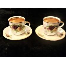 Romantyczny duet filiżanek z czeskiej porcelany
