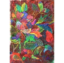 """Rysunek """"Ornament z różami"""". Technika: pastel suchy na papierze."""