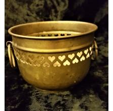 Mosiężna ażurowa złota osłonka na doniczkę