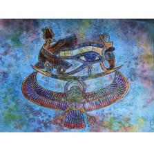 Rysunek pastelem, motyw egipski niebieski