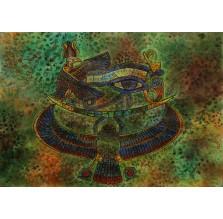 Rysunek pastelem, motyw egipski zielony