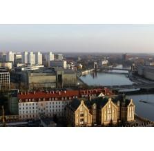 """Fotografia Wrocław """"Panorama miasta z Mostem Grunwaldzkim i rzeką Odrą"""""""