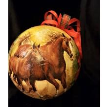 Bombka: dzikie konie w biegu. Ręcznie robiona.