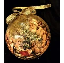 Stylizowana złota bombka z Mikołajem. Ręcznie robiona.