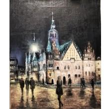 """Obraz """"Wrocław. Ratusz w wieczornych światłach"""" Technika:olej"""