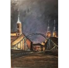 """Obraz """"Wrocław. Widok na Katedrę od Mostu Tumskiego"""" Technika: olej"""
