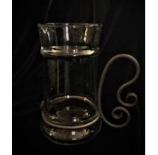 Szklany dzban/kufel z cynowym uchwytem