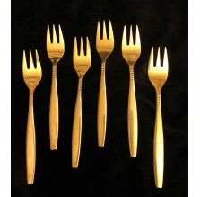 Komplet złotych widelczyków deserowych