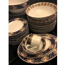 Serwis obiadowy porcelanowy, 12 osób, kobalt.   Tułowice