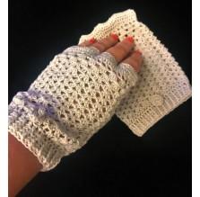 Rękawiczki szydełkowe mitenki, błękitne. Rękodzieło
