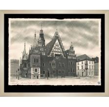 """Grafika """"Wrocław – Ratusz"""" 2017. Technika: Inkografia"""