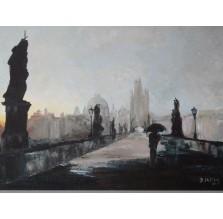 "Obraz ""Most Karola"". Technika: olej."