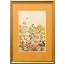"""Obraz """"Kompozycja kwiatowa VI"""". Technika własna: wyklejanie z płatków kwiatów."""