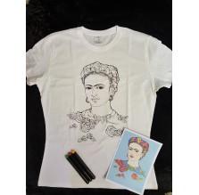 """Frida Kahlo – T-shirt bawełniany """"Stwórz własną Fridę!"""". Rozmiar M."""