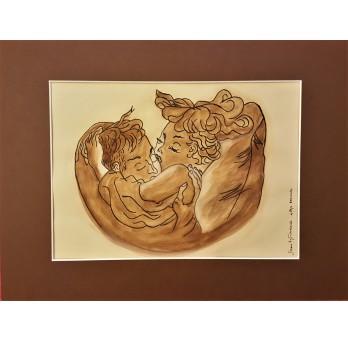"""Obraz """"Pocałunek"""" wg obrazu Mai Berezowskiej. Technika: tusz i akwarela."""